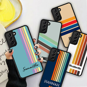 PERSONALISED NAME RETRO STRIPES Phone Hard Case Cover For iPhone 8 11 12 Pro Max