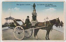 1935 QUEBEC Canada Postcard Caleche De Quebec Horse Car Monument