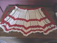WONDERFUL VINTAGE RED AND WHITE  CROCHETED  APRON