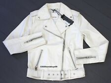 Diesel Women's L-Lupus-G Leather Motorcycle Jacket, Ivory, Size XS