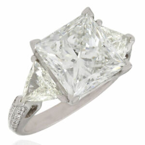 6.64ctw Princess and Trillion Diamond Three Stone Ring w/ Round Accents in 18kw