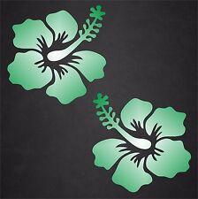 2 Hibiscus Flower Decal Sticker Hawaiian Car Window Beach Tropical Green/Wht