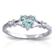 0.47 ct Platinum Plated 925 Sterling Silver Hearfelt Blue Topaz Diamond Ring