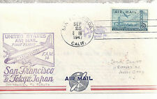 U. S. Air Mail  First Flight San Francisco to Tokyo Japan  Sept 25 1947 Envelope