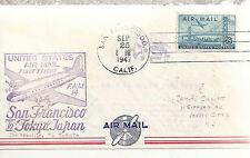 U. S. Air Mail  First Flight San Francisco to Tokyo Japan  Sept 25 1947 Envelope