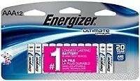 Energizer Ultimate Lithium AAA - Set of (12) L92SBP Batteries EX 12/2037