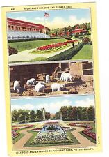 HIGHLAND PARK ZOO AND FLOWER BEDS  PITTSBURGH PENNSYLVANIA POSTCARD