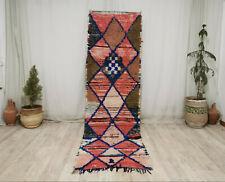 """Handmade Moroccan Vintage Berber Rug 2'8""""x9'2"""" Geometric Wool Pink Red Carpet"""