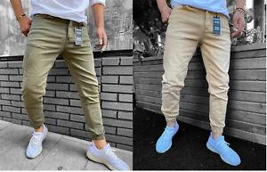 New Mens Designer Cuffed Button Up Slim Fit Jogger Jeans Denim Pants Trousers UK