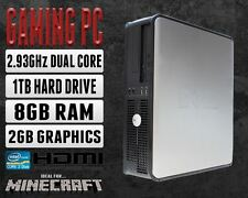 Dell Gaming PC Computer Core 2 Duo 8GB RAM 1TB 2GB Graphics Windows 10