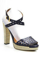 Fendi Womens Open Toe Perforated Striped Block Heel Sandals Blue Size 40 10