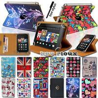 """For Amazon Kindle Fire 7"""" 8"""" 10"""" Tablet Leather Flip Rotating Stand Cover Case"""