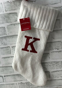 NEW WITH TAGS WONDERSHOP MONOGRAM STOCKING K IVORY RED CHRISTMAS HOLIDAY