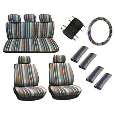 15 Pc Universal Baja Inca Saddle Mexican Blanket Seat Cover Deluxe Set