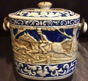Fox Hunt Porcelain Ice Bucket or Basket