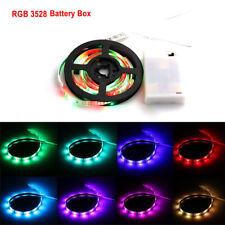 Battery Powered Flexible LED Strip Light SMD 3528 RGB Waterproof Portable 1M 5M