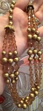 VTG Collar Glass Necklace DECO Gold Champagne Filigree MID CENTURY LOVELY