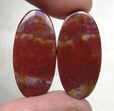 NATURAL BLOOD STONE CABOCHON OVAL SHAPE PAIR 21.25 CTS LOOSE GEMSTONE D 5810
