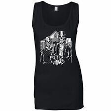 Skulls Ladies Vest Skeleton Gothic House in Eldon Parody Of American Painting