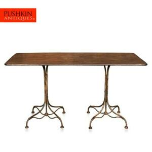ANTIQUE 20thC FRENCH COUNTRY HOUSE DINING METAL TABLE c.1920