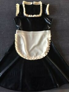 latex rubber maid outfit cosplay uniform sexy lace dress black 0.4mm s-xxl