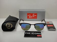 RAY-BAN CLUBMASTER SUNGLASSES RB3016 1222C2 BORDEAUX/BLUE FLASH LENS 49MM NEW!