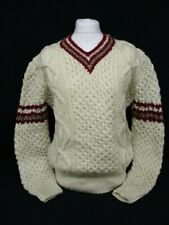 Aran V Neck Sweater, Chunky Knit Cricket Jumper, Large, Acrylic, Cream, 60cm W