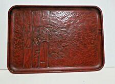 Vintage Japanese Kamakura-Bori Carved Wood Bamboo Lacquer Ware Tray 12