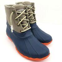 Sperry Saltwater Womens Size 7.5 Navy Orange Tan Waterproof Rain Duck Boots
