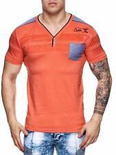 Herren T-Shirt Orange V ausschnitt Brusttasche Polo Shirt Slim Fit John Kayna