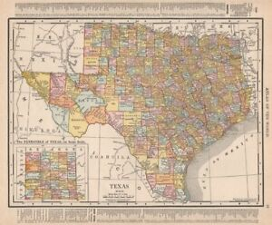 Texas state map showing counties. RAND MCNALLY 1912 old antique plan chart