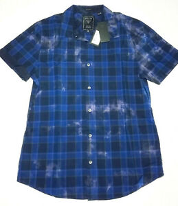 NEW Guess Men's Small Check Short Sleeve Slim-fit Navy Uniform Shirt  $99.95