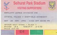 Ticket - Crystal Palace v Sheffield Wednesday 25.04.92