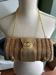 Vintage Small Box Straw Gold  Shoulder Bag For the Summer