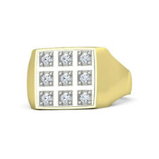 0.34 Ct Natural Diamond Engagement Solid 14K Yellow Gold Mens Bands Size 10 11