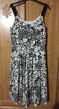 LAURA ASHLEY Black & Cream Floral SILK Blend Dress Size 12 WEDDING Worn Once