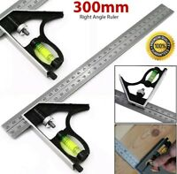 """300mm (12"""") Adjustable Engineers Combination Try Square Set Right Angle Ruler"""