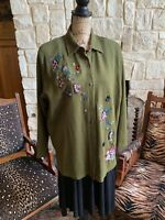 Hunter Green Embroidered Button-Front Sweater Jacket Floral Butterflies XL
