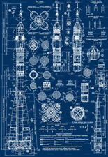 "056 Blueprint - Rocket Spaceman Space Program spaceship 24""x34"" Poster"