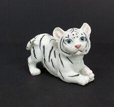 "Small White Tiger Figurine 2.5"" Tall Wild Cat Collectible Statue C"