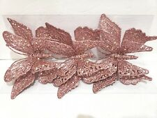 Shabby Chic Rose Pink Glitter Christmas Butterfly Butterflies Ornaments Set of 3