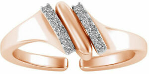 Rose Gold Over Sterling Silver Round Cut Cubic Zirconia Womens Toe Ring #1