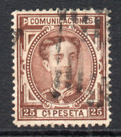 Spain 25 Cent Stamp c1876 Used (1254)