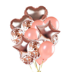 "12"" Latex Balloon 18"" Star Heart Foil Confetti Filled Birthday Wedding Party"