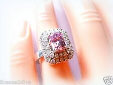 CHARLES & COLVARD STERLING SILVER PINK MOISSANITE ENGAGEMENT RING WARRANTY NEW 6