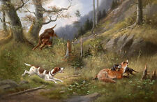 Perfect Oil painting Hound dogs hunting with deer in landscape landscape canvas
