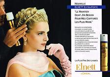 PUBLICITE ADVERTISING 025  1989  L'OREAL   laque ELNETT extra-forte  ( 2pages)