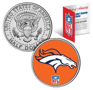 DENVER BRONCOS NFL Logo JFK Half Dollar U.S. Coin Officially Licensed w/COA