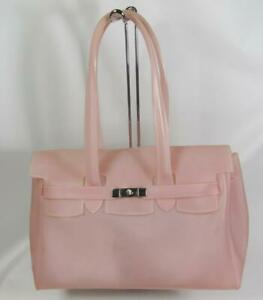 """Intuition Large 12"""" Tall X 15"""" Long Pink Jelly Satchel Tote Handbag Purse"""