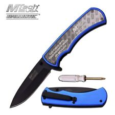 SPRING-ASSIST FOLDING POCKET KNIFE Mtech Blue Customizable DIY Insert Photo A923